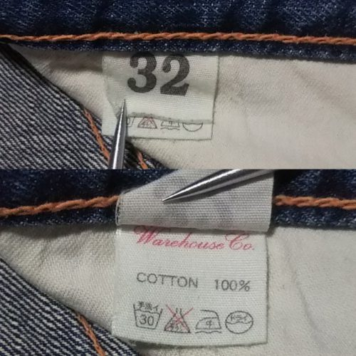 "WAREHOUSE""800"" 50s Vintage jeans Reprint Inner tag"