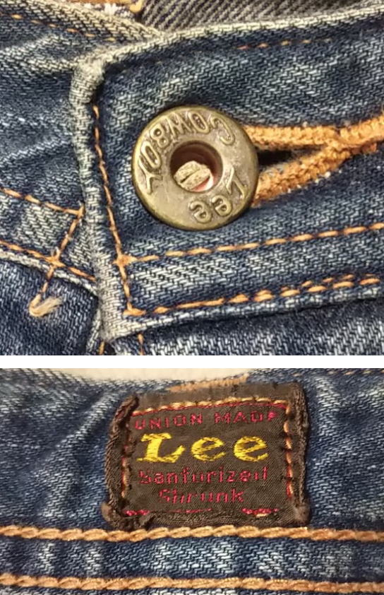 30s Lee Cowboy Pants Reprint top button and back center red tag
