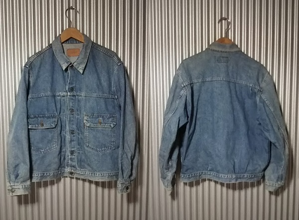 LVC 90s Levi's 70502-0217 Denim Jacket Tracker jacket L Type 2nd Orange tab Front side Rear side