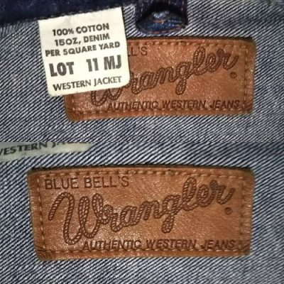 50s Wrangler 11MJ Western Jacket Leather label and display ticket