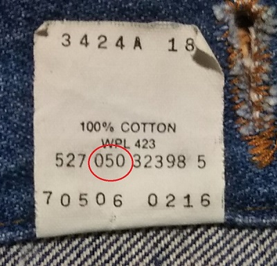 90s Levi's 70506 Made in USA 38 Vintage 1990 Made Inner display tag