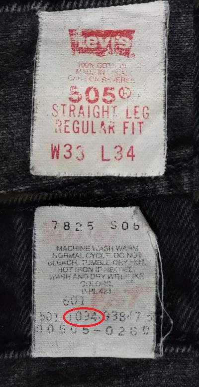 90s Levis 505 Black Made in USA Vintage 140th anniver Inside display tag