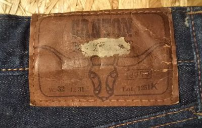 60s CANTON Selvedge Slim jeans. Paper label