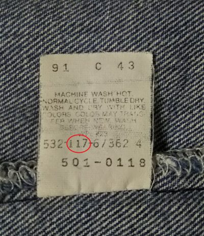 80s Levi's501 Made in USA W30-31 1987 made Factory nmber / date of manufacture
