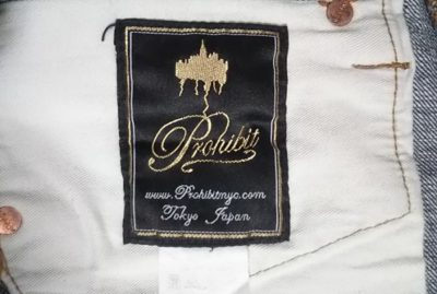 """""""PROHIBIT"""" selvedge jeans. From NY select shop brand Brand name tag"""