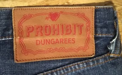 """""""PROHIBIT"""" selvedge jeans. From NY select shop brnd Leather label"""