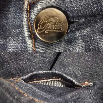 """""""PROHIBIT"""" selvedge jeans. From NY select shop brand Top button and selvedge in coin pocket"""