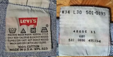1990s Levi's 501 Made in USA W33 Inside display tag