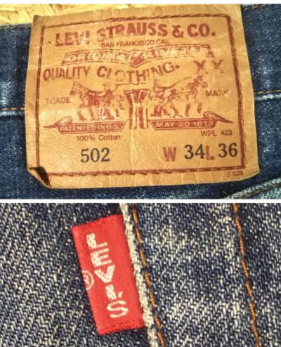 """90s Levi's 502xx""""60s 501Zxx reprint"""" W33 Paper label and BigE """"Red Tab"""""""