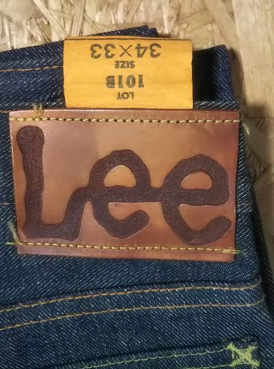 Leather label 40s Lee Riders jeans Reprint Unused Raw denim 90s made
