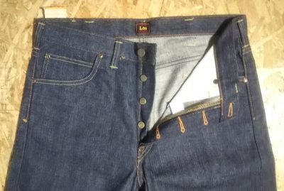 Button fly of 40s Lee Riders jeans Reprint Unused Raw denim 90s made