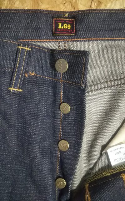 Top button and belt loop 40s Lee Riders jeans Reprint Unused Raw denim 90s made