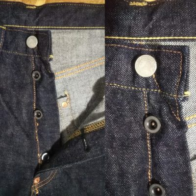 """Button fly and V stitch """"top button"""" Big john selvedge denim jeans Denim craft.OR120B"""