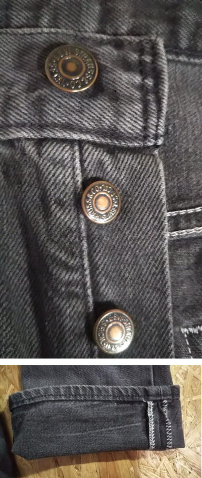Top button and hem of 1990s Levi's 501 Made in USA 1992 made Black W31-32 L33