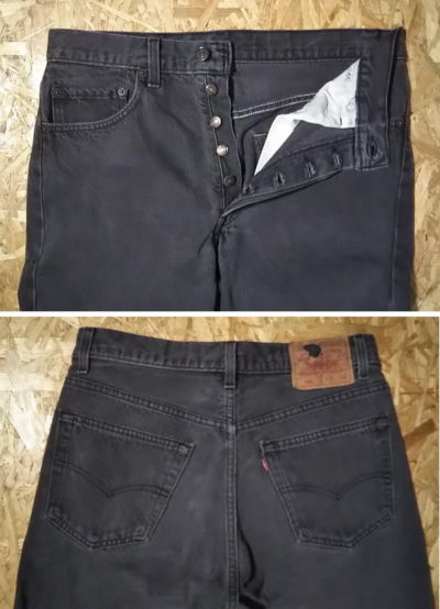 Button fly and back pocket of 1990s Levi's 501 Made in USA 1992 made Black W31-32 L33