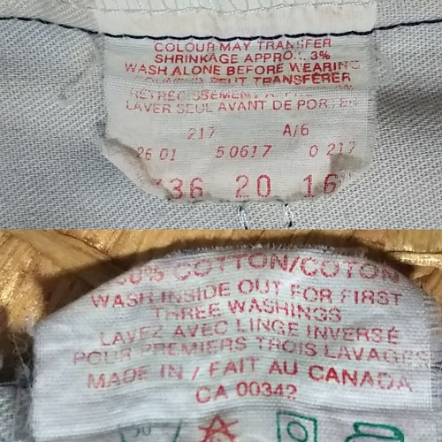 Inside display tag - 90s Levi's 517 Made in Canada