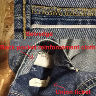Lee Riders 101Z Jeans. 1952 Reprint Selvedge, union ticket and back pocket reinforcement cloth