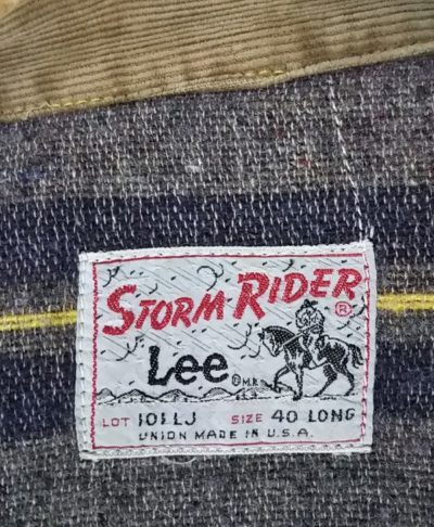 Tag - 70s Lee 101 LJ Storm Rider Jacket. Made in USA 1970-1973 size 40 LONG