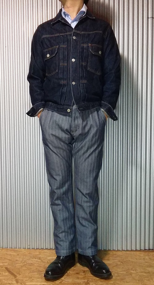 """Wearing image 1 - """"STRONG HOLD Overalls"""" Herringbone Tapered Work Pants"""