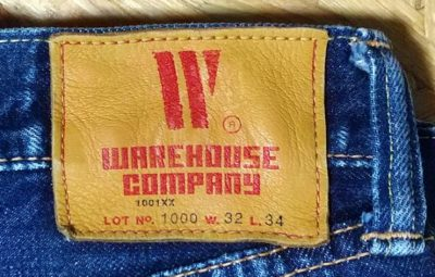 Leather label --WAREHOUSE 1000 (1000XX). Model XX Japanese jeans