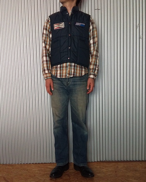 """80s Swing Star Down Vest x 50s 501 Reprint """"Sewing Chop"""" x Red Wing Pecos Boots"""