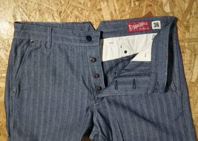 """Button fly - """"STRONG HOLD Overalls"""" Herringbone Tapered Work Pants"""